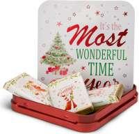 Geschenkartikel - Präsentartikel: Schokoladendose Weiße Weihnacht rot
