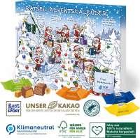 Adventskalender mit Ritter SPORT Schokowürfel, Klimaneutral, FSC®, Inlay aus 100% recyceltem Materia