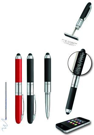 """Schreibgerät mit Stempel und Bedienelement für Touchscreens """"Mini Stamp & Touch Pen - 3 in 1"""""""