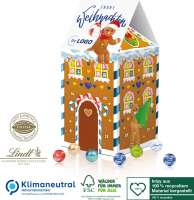 Adventskalender-Haus XL Lindt, Klimaneutral, FSC®, Inlay aus 100% recyceltem Material