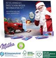 Tisch-Adventskalender mit Milka Schokolade, Klimaneutral, FSC®, Inlay aus Recycling-Material hergest