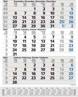 3-Monats-Planer Comfort Grau Blueline
