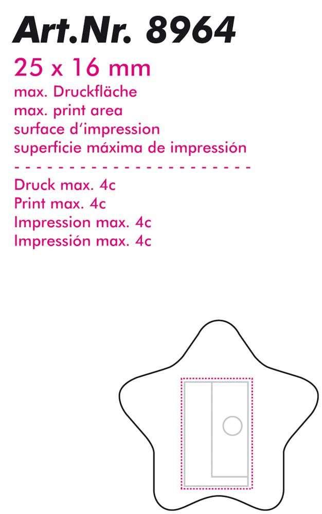 Bleistiftspitzer-Sternform als Werbegeschenk für 0,16 € von prodono