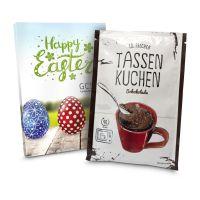 Präsentartikel: Tassenkuchen Schokolade (Backmischung 70 g), auch in individueller Stecktasche