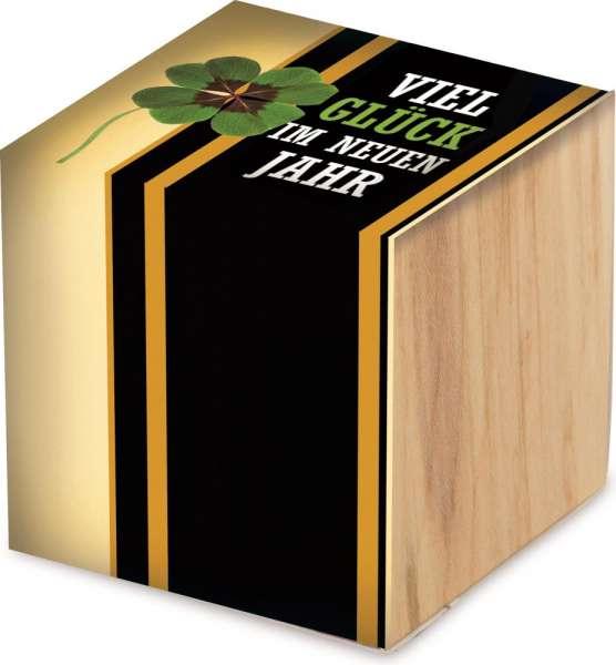 Pflanz-Holz Gluecksklee inkl Lasergravur auf einer Seite