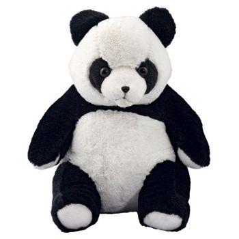 Panda Steffen ist aus superweichem Plüsch gefertigt.