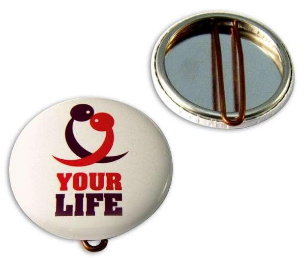 Button mit Nadel 37 mm inkl. 1c-Werbedruck