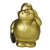 """SQUEEZIES® Gold Bert®, zum Stressabbau """"knautschen"""", nimmt Ursprungsform wieder ein."""