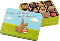 Geschenkartikel - Präsentartikel: Mit Dir ist Ostern am schönsten - Pralinendose mit 125 g