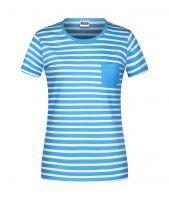 Ladies' T-Shirt Striped atlantic/white