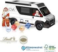3D Präsent Camper mit Lindt Santa & Lindt Minis, Klimaneutral, FSC®
