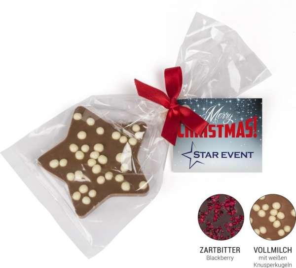 Schoko Weihnachtsstern Vollmilchschokolade mit 4c Digitaldruck