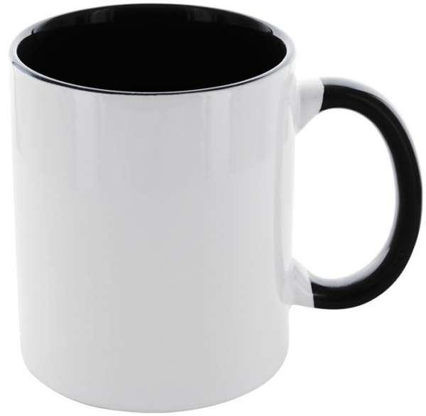 Kaffeetasse Carola weiß/schwarz mit schwarzem Henkel