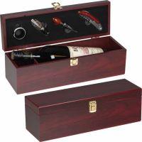 Weinbox aus Holz mit Kellnermesser für 1 Flasche