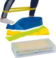 Elastische Fitnessbänder in einer Kunststoffbox