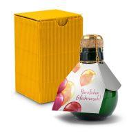 Kleinste Sektflasche der Welt! Herzlichen Glückwunsch - Inklusive Geschenkkarton, 125 ml