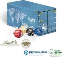 3D Präsent Container mit Lindt Lindor Pralinés, Klimaneutral, FSC®