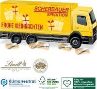 3D Adventskalender LKW mit Lindt Schokotäfelchen, Klimaneutral, FSC®, Inlay aus 100% recyceltem Mate