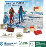 Tisch-Adventskalender Lindt Exklusiv, Klimaneutral, FSC®, Inlay aus 100% recyceltem Material