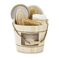Wellness-Geschenkset: Holzzuber braun