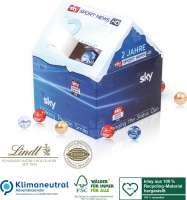 Adventskalender Lindt Weihnachtshaus, Klimaneutral, FSC®, Inlay aus 100% Recycling-Material hergeste