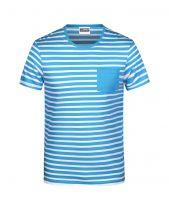 Men's T-Shirt Striped atlantic/white