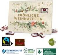 Adventskalender aus Graspapier mit Fairtrade-Kakao, Klimaneutral, FSC®, Inlay aus Papierfaser