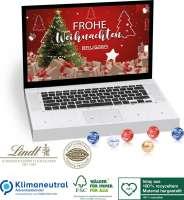 Tisch-Adventskalender Lindt Gourmet Edition Laptop, Klimaneutral, FSC®, Inlay aus 100% recyceltem Ma