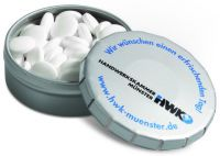 Super Mini Klick-Klack Dose Pfefferminz als Werbeartikel