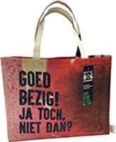Einkauftasche aus übrig gebliebenem Gewebe von Fahnen oder Bannern