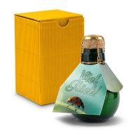 Kleinste Sektflasche der Welt! Viel Glück - Inklusive Geschenkkarton, 125 ml