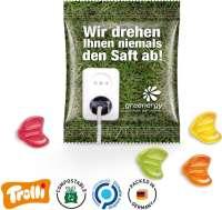 """Fruchtgummi Minitüte 10g, """"Euro-Zeichen"""", kompostierbare Folie"""