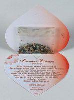 Klappkärtchen Herz, bunte Blumenmischung, 1-4 c Digitaldruck inklusive